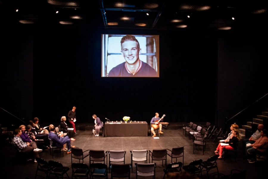 Community+members+gathered+in+the+Semel+Theatre+to+mourn+sophomore+Daniel+Hollis+on+October+3.+2019.