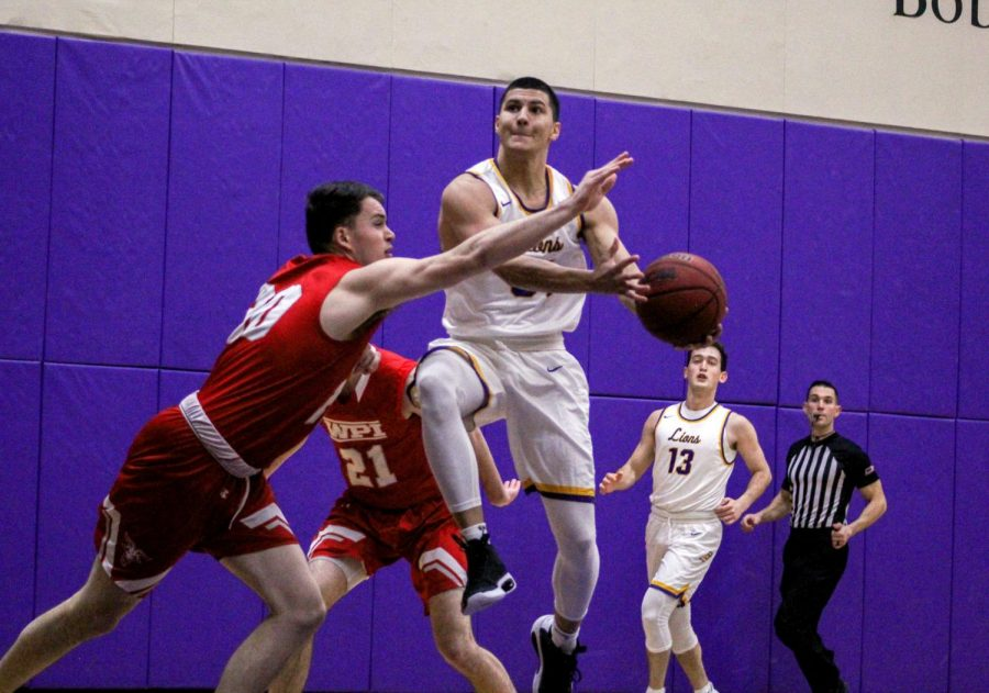 Bryan Lupianez goes up for a shot during a game against WPI on Jan. 22, 2020.