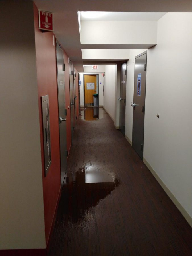 Flooding on the fifth floor of Piano Row.