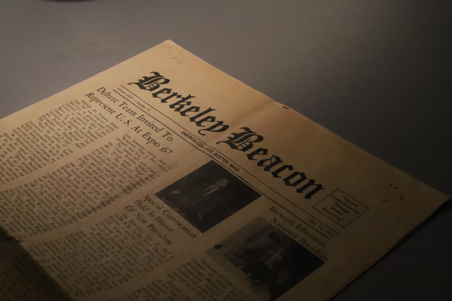 A 1967 edition of The Berkeley Beacon, the oldest in the organization's office.
