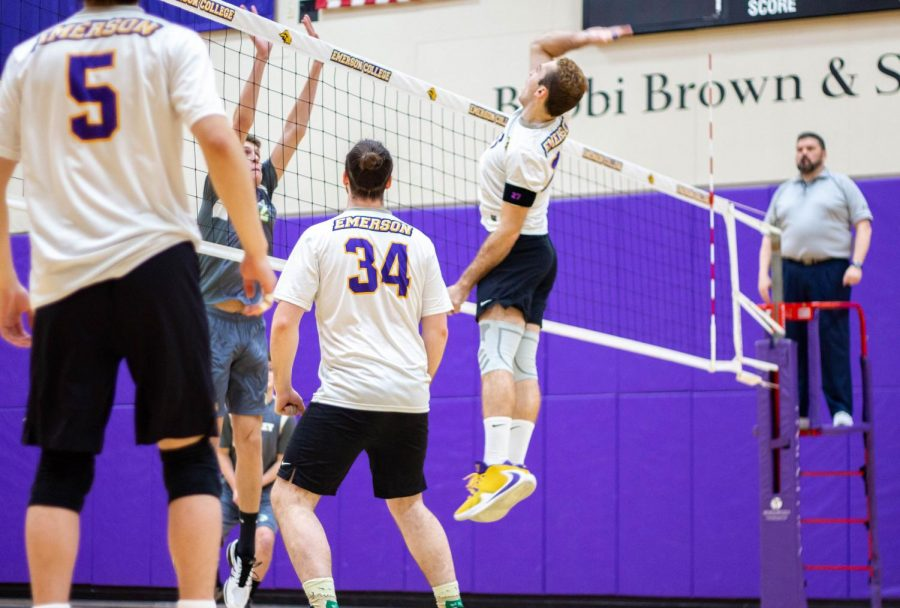 Junior middle blocker Sam Willinger recorded 9 kills against Nichols and 15 against Northern Vermont in the men's volleyball double header on Saturday.