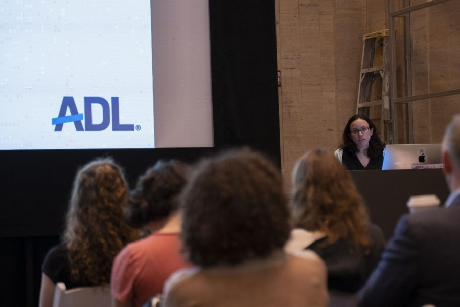 Melissa Kraus, from the  Anti-Defamation League's Boston chapter, presenting at the event hosted by Hillel. Photo credit: Yongze Wang