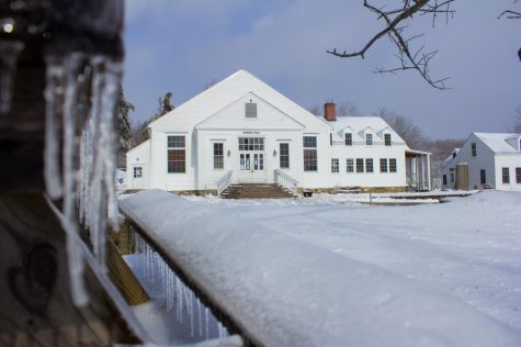 Marlboro College's dining hall surrounded by snow in early February.