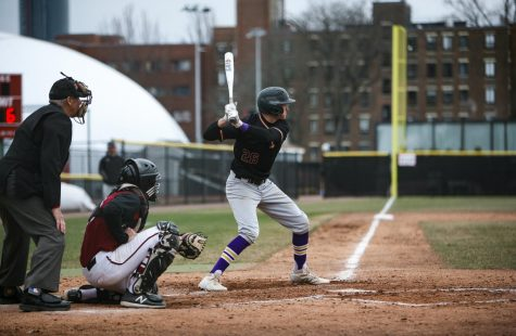 Junior utility player Andre Padovani awaits a pitch during the baseball teams 13-4 loss against Framingham State University.