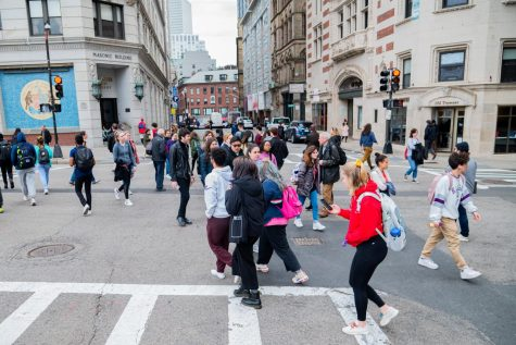 Students crossing the bustling Boylston/Tremont intersection.