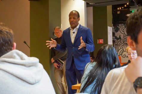 "President M. Lee Pelton speaking to students who were forced to evacuate the Netherlands during the Spring 2020 semester after COVID-19 spread rapidly around the world. Pelton expressed support for the ""Defund the Police"" initiative Tuesday, saying that the police are overly militarized and the system needs overhauled, in a virtual panel with Commonwealth Magazine."