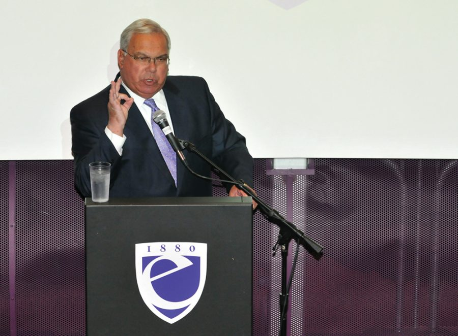 Thomas Menino visited the Bill Bordy Theater in 2010.