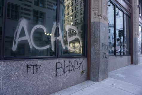 Protesters vandalized several of the college's building's including Little Building.