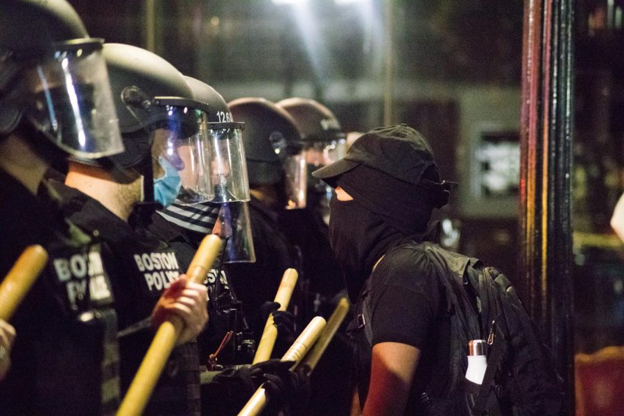 Protesters stood face to face with police for much of the night.