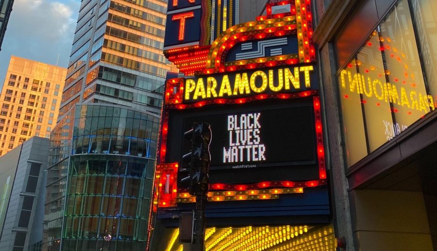 The+marquee+outside+Emerson%27s+Paramount+Center+reads+%22Black+Lives+Matter%22+following+the+killing+of+George+Floyd%2C+a+Black+man+from+Minneapolis+by+a+white+police+officer.+