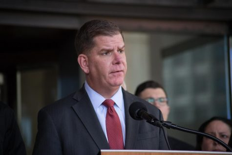 Boston Mayor Marty Walsh condemned the violence of Sunday nights' protest and thanked the peaceful demonstrators at a press conference Monday. Archive photo.