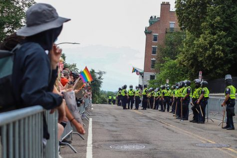 The protesters and counter protesters were separated by barriers on either side of Beacon Street and lines of police officers.