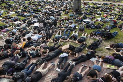Hundreds of protestors on Wednesday laid face-down for a die-in on Boston Common for 8 minutes and 46 seconds, in solidarity with the time officer Derek Chauvin knelt on the neck of George Floyd, resulting in his death.