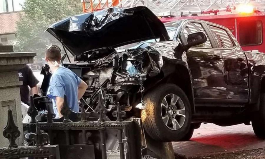 The black Chevy colorado pickup truck crashed into the Public Garden Thursday afternoon.