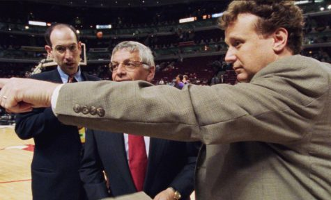 During production of The Last Dance, Gregg Winik (right), current NBA Commissioner Adam Silver (left) and former NBA Commissioner David Stern prior to Game 5 of the 1998 NBA Finals.