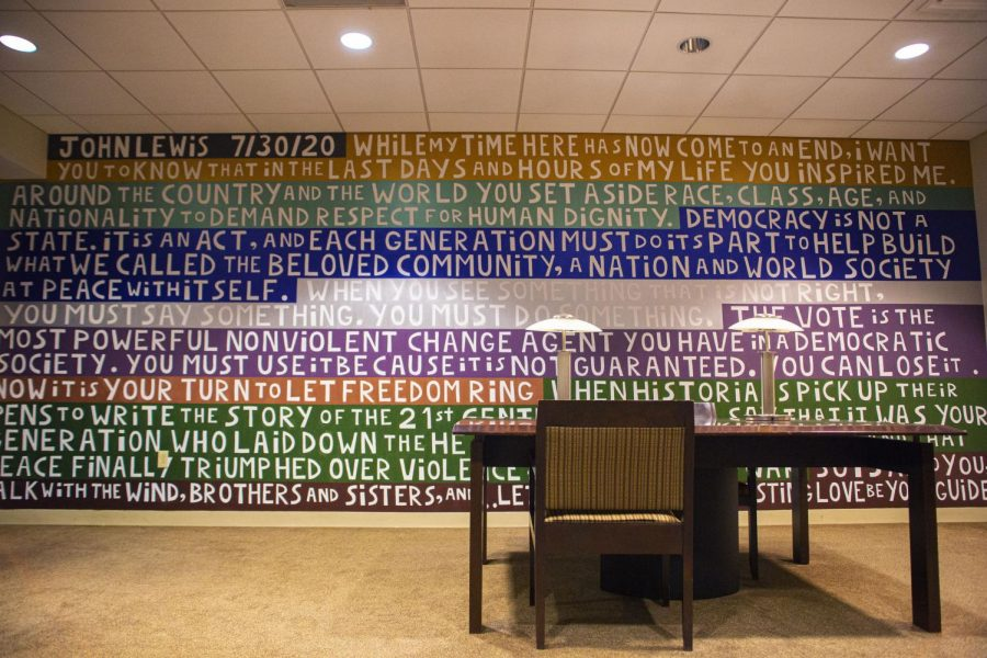 A mural honoring John Lewis was painted on the wall in the Quiet Study room in Piano Row.
