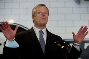 Governor Charlie Baker takes questions from the media at Mill City BBQ and Brew in Lowell, MA, September 23, 2020.