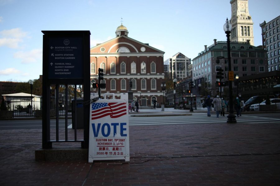 A polling place at City Hall on Election Day Nov. 3, 2020.