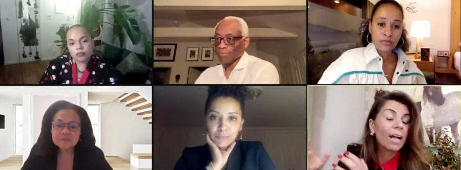 Screenshot from the ICA Panel on racism, contemporary art, and public health.