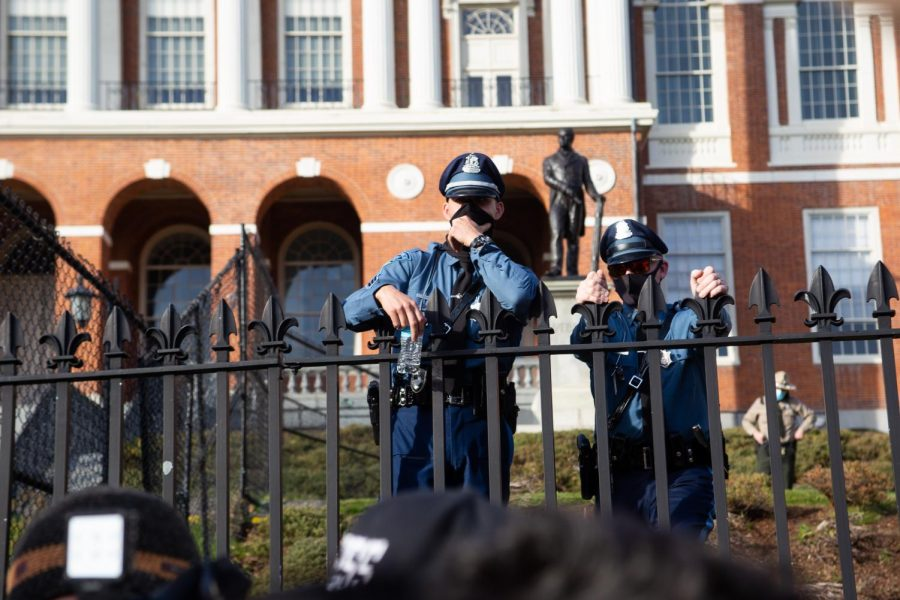 Police officers stand outside the Massachusetts State House.