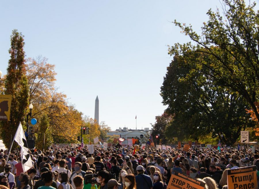 A view of the Washington Monument from Saturday's celebration.