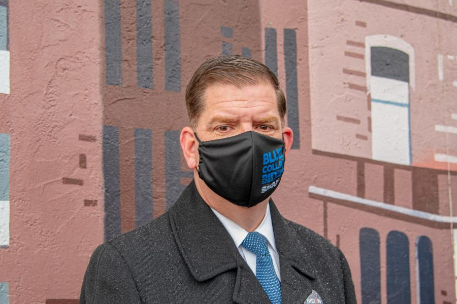 Marty Walsh poses for a portrait outside the Lower Mills Branch of the Boston Public Library on November 3, 2020 while waiting to cast a vote for Presidential Candidate Joe Biden.