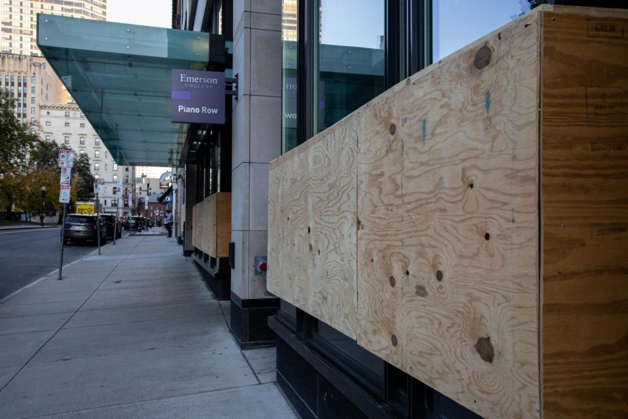 The Piano Row dorm building boarded up with plywood ahead of potential election fallout protests.