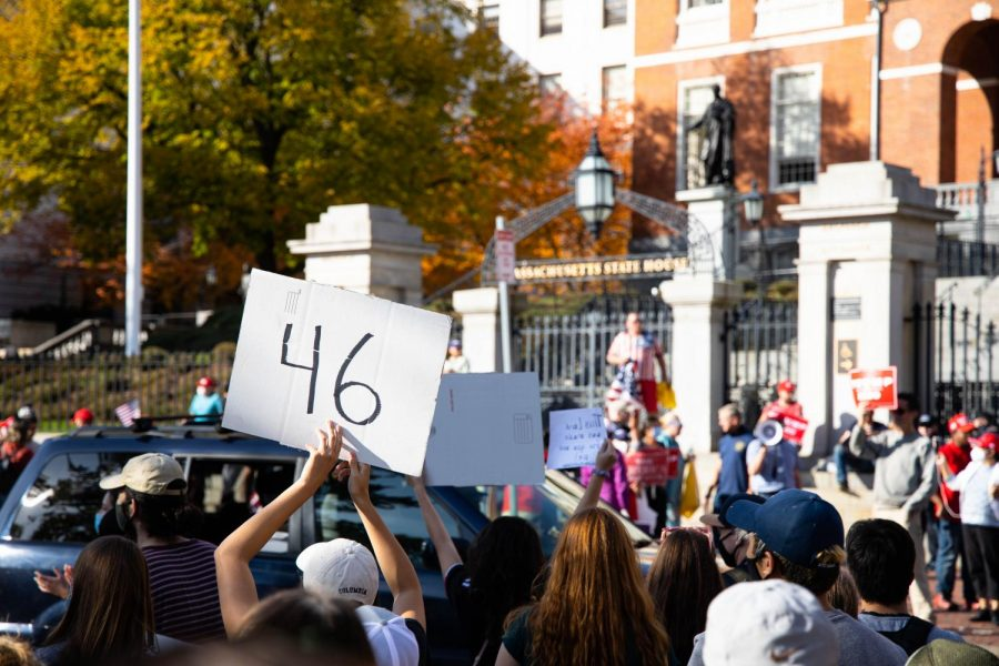 Rallies on both sides of Beacon Street for Joe Biden and President Trump settled following the Associated Press' projections of the presidential race Saturday morning.