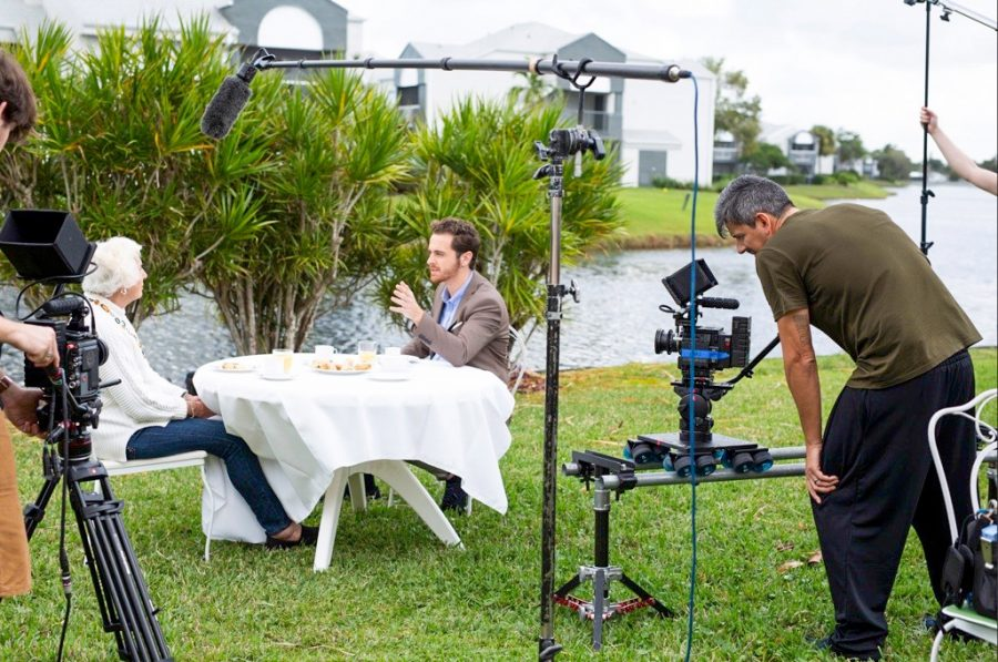 Mike Cantalupo 15 on set with Rogers for the first episode of Centenarians