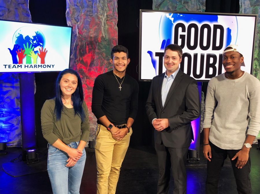 Emerson seniors Angel Salcedo and Khary Higgins hosted the first episode of 'HATE: WHAT ARE YOU GOING TO DO?' Left to right: Miranda Andreson, Angel Salcedo, Josh Zakim, and Khary Higgins.
