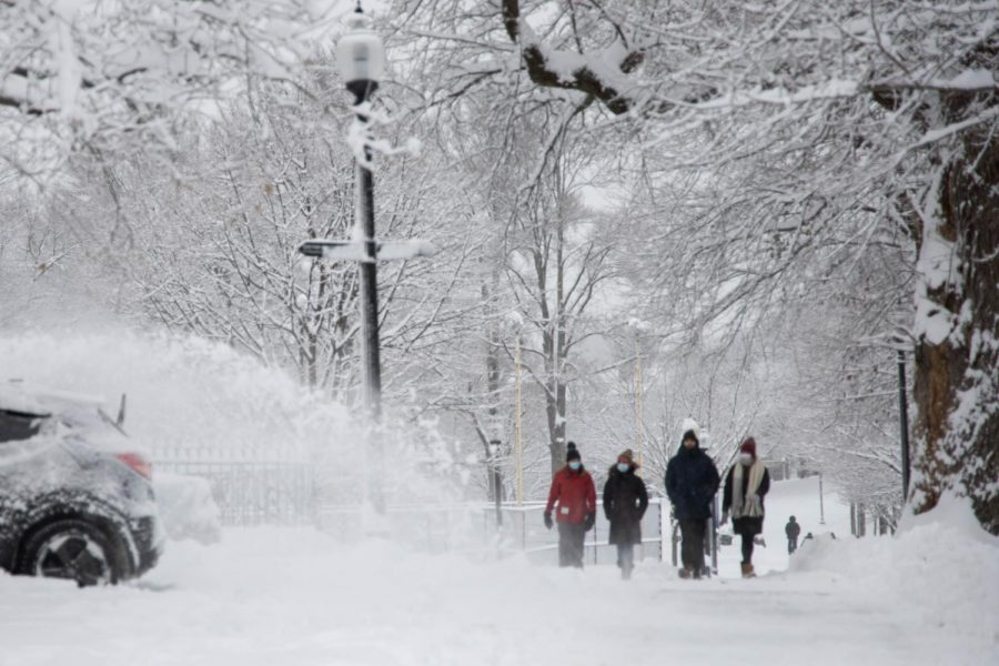 A group of friends walking through the Boston Common during the first nor'easter of 2020.