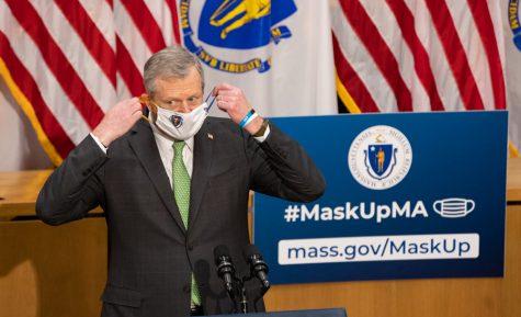 Massachusetts Gov. Charlie Baker. speaking at a COVID-19 update inside the Massachusetts State House.