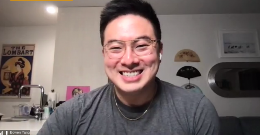 Bowen Yang attends Zoom webinar with Emerson students