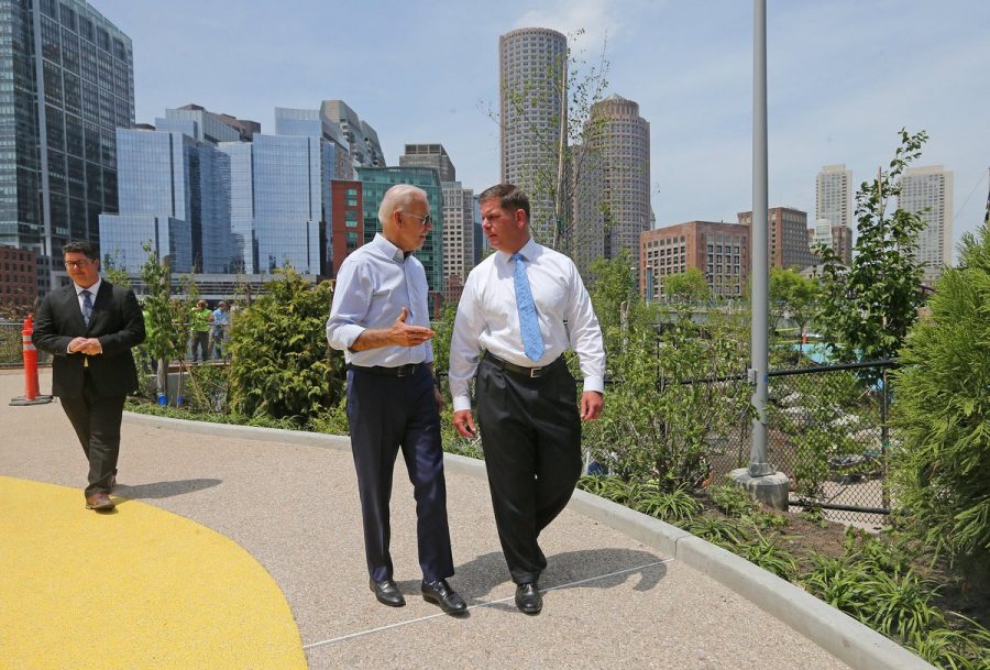Joe Biden walks with Boston Mayor Marty Walsh during a visit to the city n 2019.