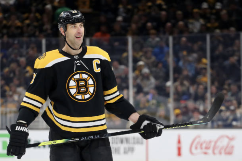 A Bruins fan's stick tap to Zdeno Chara