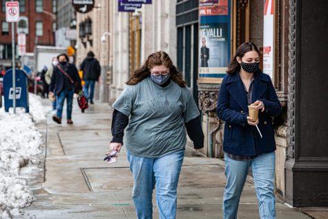 Students walking along Boylston Street.