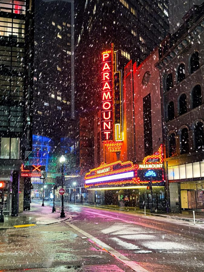 Paramount Building in snow.