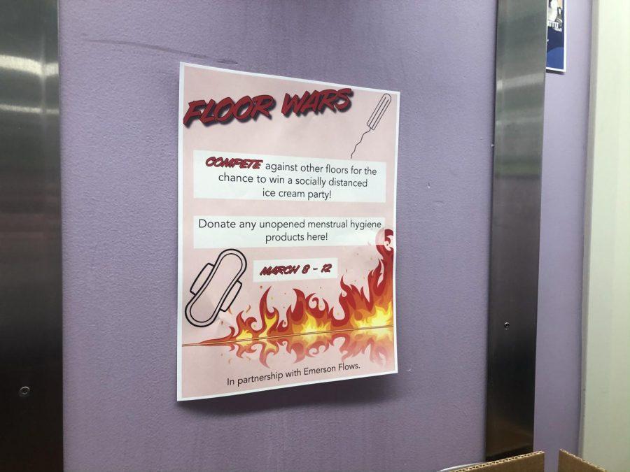 Floor Wars flyer and drop-off area on 13th floor of Little Building