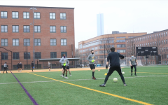The men's soccer team trains at Rotch Field in the South End three times per week.