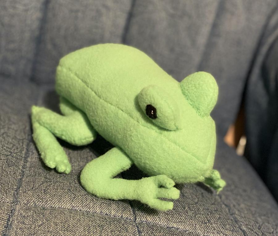 Handmade stuffed frog made by Rebecca Hirschhorn.