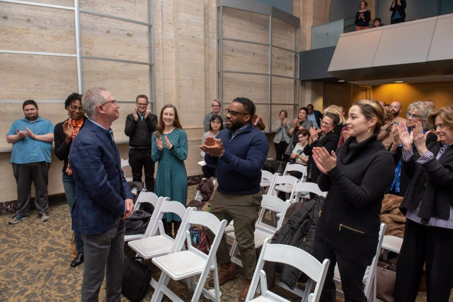 Robert Colby being honored at a January 2020 faculty assembly, where the Robert Colby Kindness Award was created in his honor.