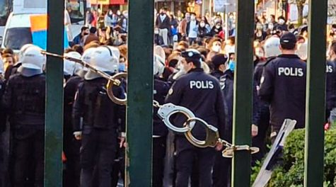 Police restrict the south campus gate at Boğaziçi University in Turkey.