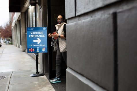 The entrance to a vaccination clinic in downtown Boston.