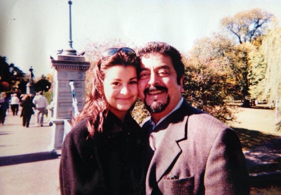 Alia Seraj with her father, Prince Abdul Ali Seraj, in the Boston Public Garden