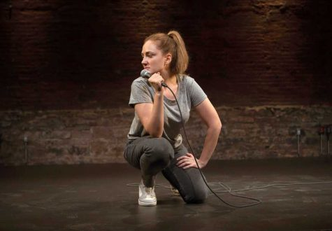 Jacqueline Novak performing her stand-up show, Get On Your Knees.