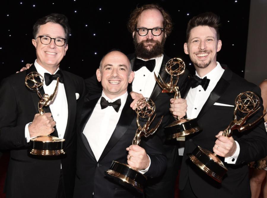 From+left+to+right%3A+Stephen+Colbert%2C+Matt+Lappin%2C+Opus+Moreschi+%E2%80%9900%2C+and+Ballard+C.+Boyd+%E2%80%9903+at+the+Emmys