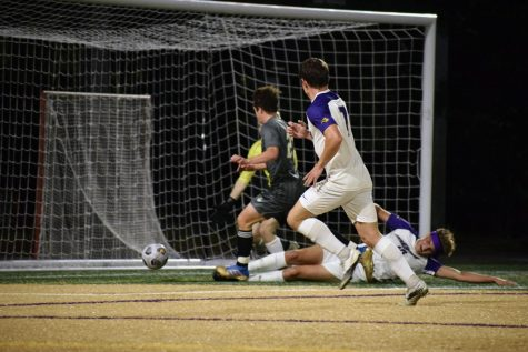 Emerson soccer players during the game against the Lesley Lynx.
