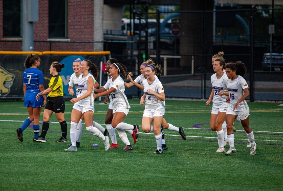 Emerson College Womens Soccer team during the soccer game on Sep. 15